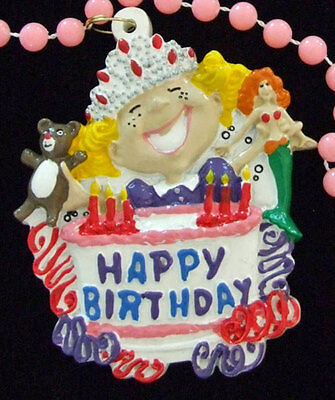 Happy Birthday Cake Girl Mardi Gras Bead Necklace New Orleans Party FS