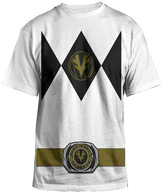 Power Rangers Mighty Fine Ranger Costume Adult White T-Shirt - Halloween Party T