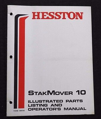 GENUINE HESSTON 10 STAKMOVER BALE MOVER OPERATORS MANUAL AND PARTS LIST
