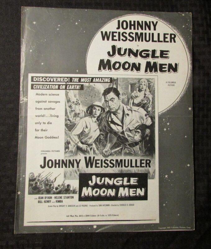 1955 Jungle Moon Men PRESSBOOK VG 11x14 6p Trifold Johnny Weissmuller Jean Byron