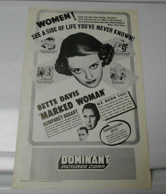 1956 MARKED WOMAN Press Book Kit BETTE DAVIS Humphey Bogart FN+