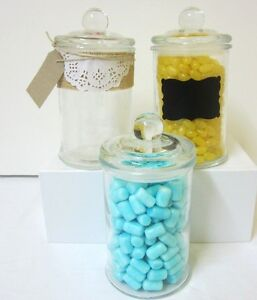 3x-750ml-Small-Glass-Jars-Candy-Buffet-Lolly-Jars-Wedding-Apothecary
