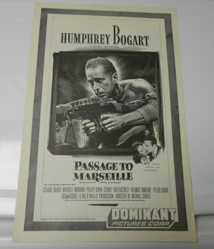 1944 PASSAGE TO MARSEILLE Press Book PressKit FN+ Humphrey Bogart Claude Rains