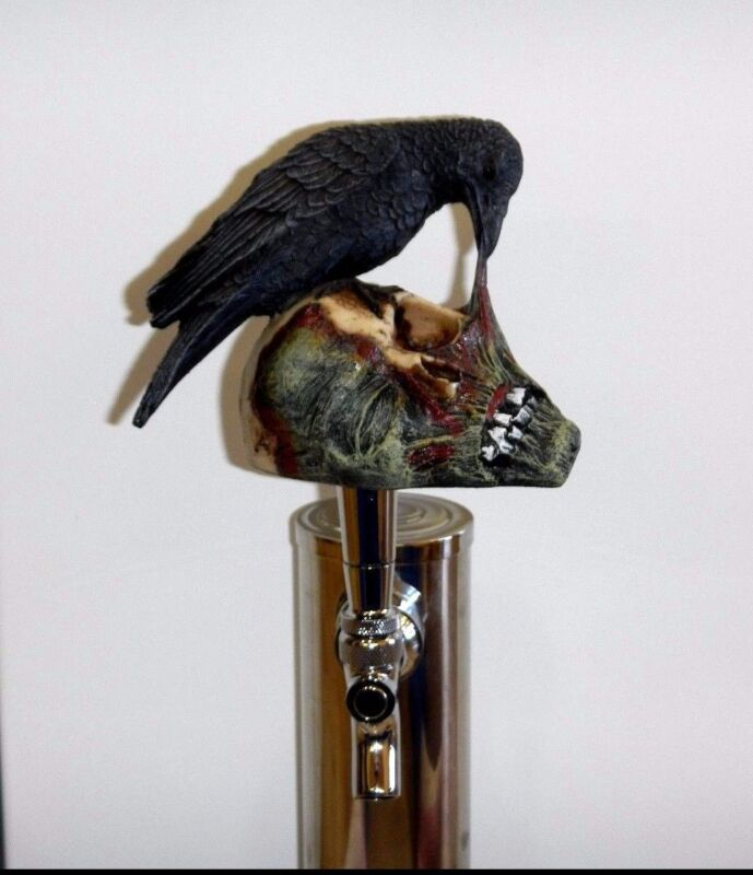 Limited Raven Eating Zombie Sports Bar Beer Tap Human Corpse Brew Handle Keg top