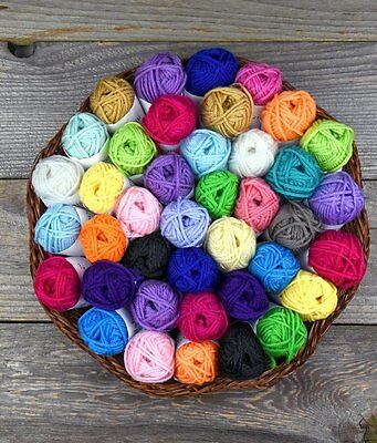 50 Yarn Skeins Assorted Colors Huge Lot Mixed Knitting Crochet Craft Thread Ball