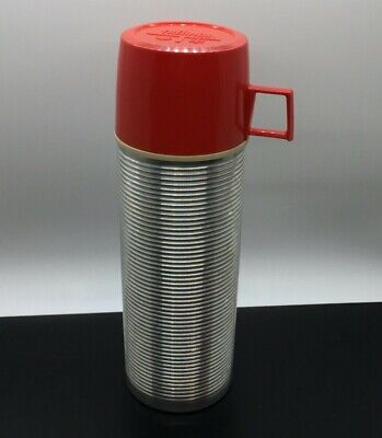 Vintage Pint Size Thermos Vacuum Bottle No 2284 Red Cup King Seeley Retro 9 5/8