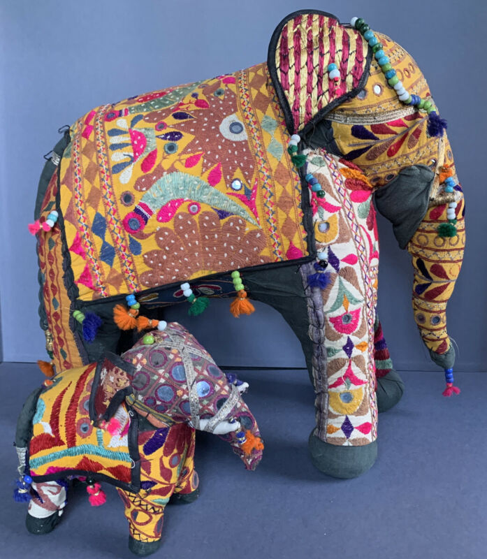 vintage Indian Banjara Lambani Rajasthan embroidered mirrored stuffed elephants