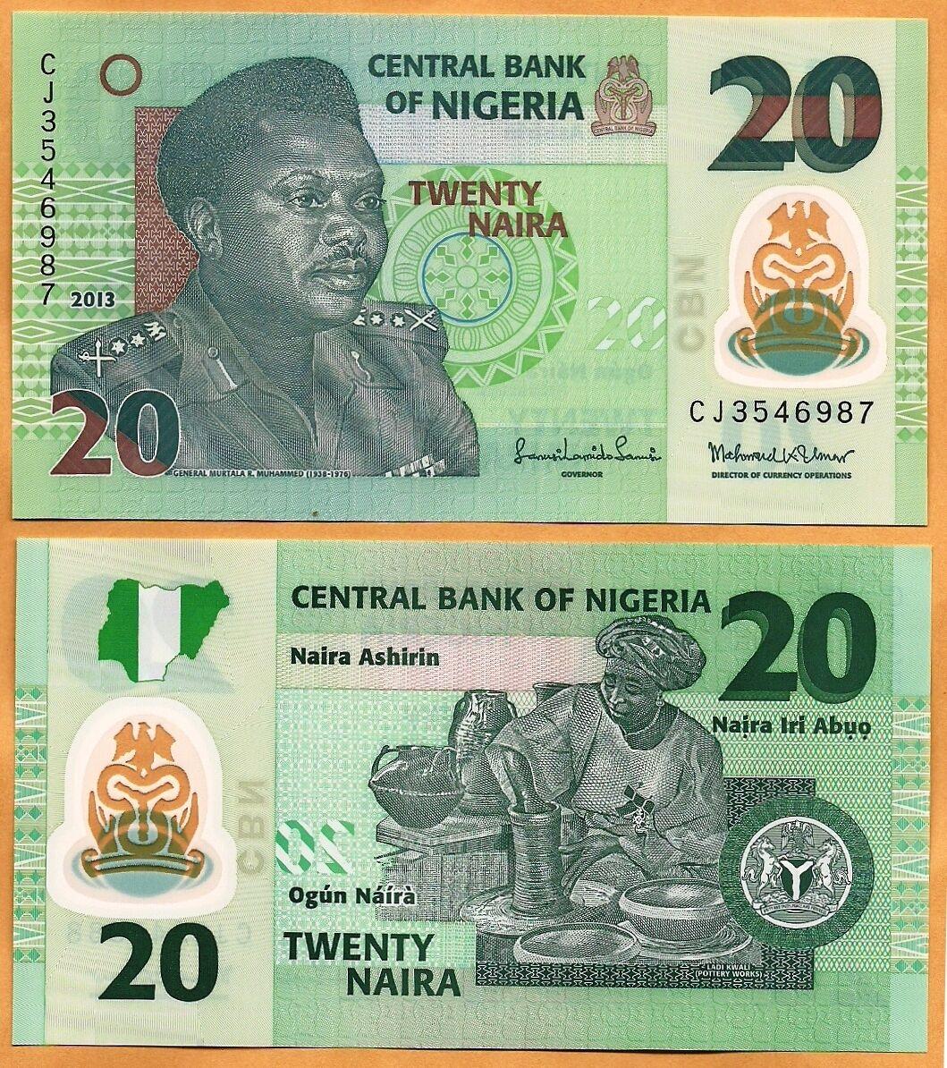 Nigeria P-34g 20 Naira Year 2011 Uncirculated Banknote Africa