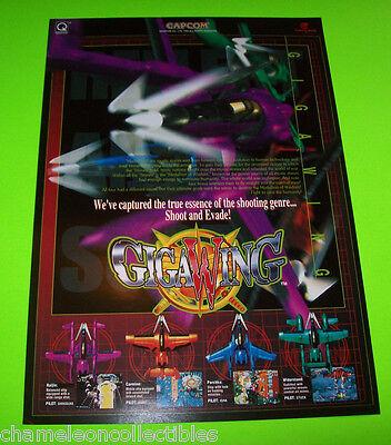 Capcom GIGAWING 1999 Original NOS Video Arcade Game Space Shooter Promo Flyer