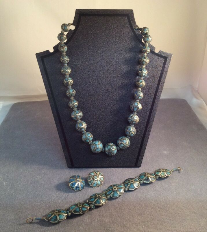 Vintage Art Deco 1920's Inlaid Turquoise & Sterling Necklace Bracelet Earrings