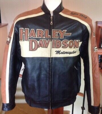 HARLEY DAVIDSON Men's Size LARGE Leather Racing Jacket in Great Condition