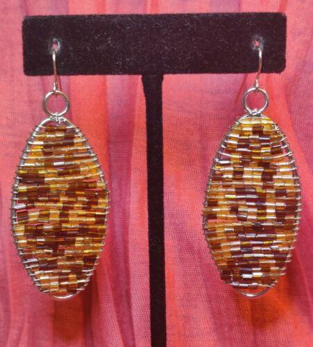 Silver Tone Wire Small Tan Brown Bead Dangle Drop Earrings Jewelry Statement - $3.99