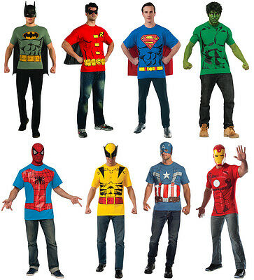 Mens Superhero Costume T-Shirt & Cape Batman Robin Superman Hulk Captain America (Hulk Mens Costume)
