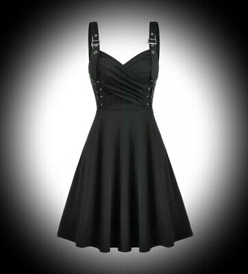 New Black Gothic Ruched Wrap Bust Double Corset Skater Dress size 3XL 16 18 20