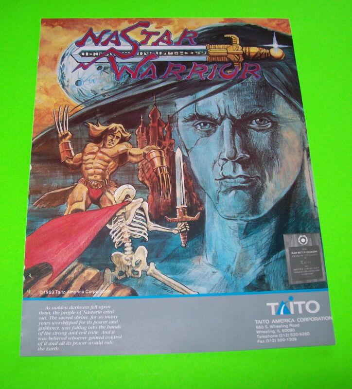 NASTAR WARRIOR By TAITO 1989  ORIGINAL VIDEO ARCADE GAME SALES FLYER BROCHURE