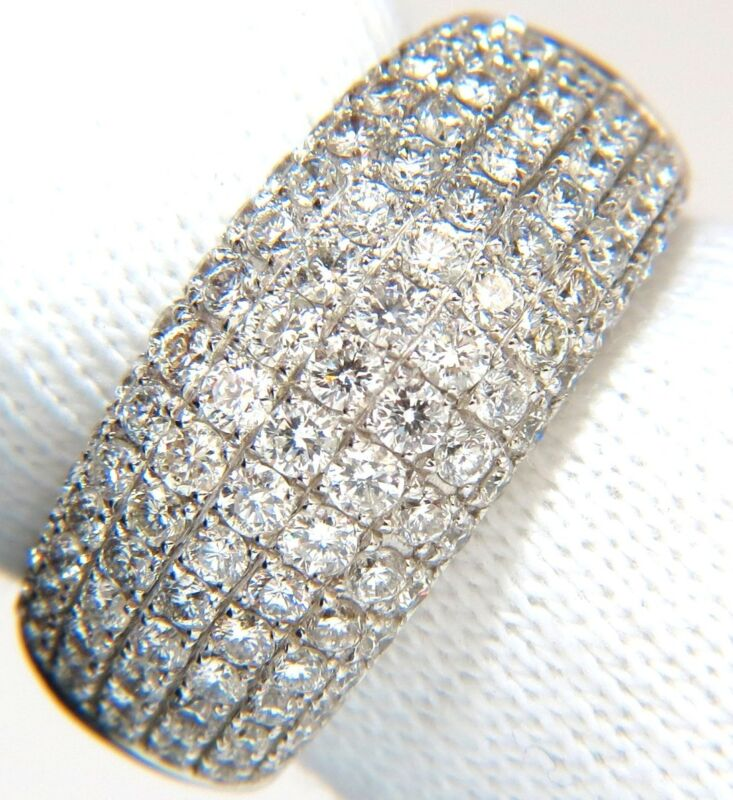 $9000 2.77ct Full Cut Diamonds Bead Set Wide Band Ring 18kt 10mm Size 6.75