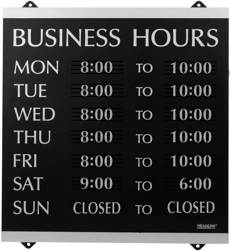 Local Cafes & Shops Business Hours Window Sign w/ 176 Characters & Suction Cups