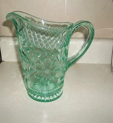 "RARE US GLASS FLORAL DIAMOND BAND GREEN DEPRESSION PITCHER 8"" TALL"