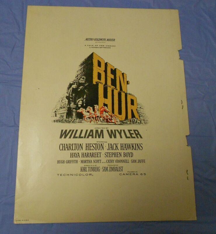 Ben-Hur (1959) Charlton Heston, Jack Hawkins, Stephen Boyd PRESSBOOK