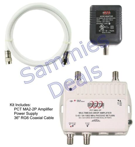 PCT 2-Port Cable TV OTA HDTV Amplifier Splitter Signal Booster