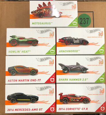 Hotwheels ID cars X7 -shark-motosaurus-howlin-arachnorod-amg gt-corvette-aston