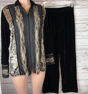 Coldwater Creek M Velvet Lace Burnout Sequin Zip Sweater Jacket Pants Set s3