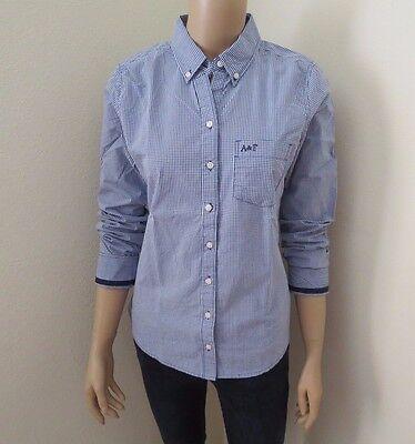 Nwt Abercrombie Mujer Botón Abajo Camisa de Cuadros Talla Mediana Azul Blanco