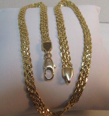 14k Solid Gold Mesh Diamond Cut Necklace 16