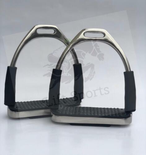 """5"""" & 4.75"""" Horse Riding English Flexible Safety Stirrups Irons Saddle Bendy SS"""