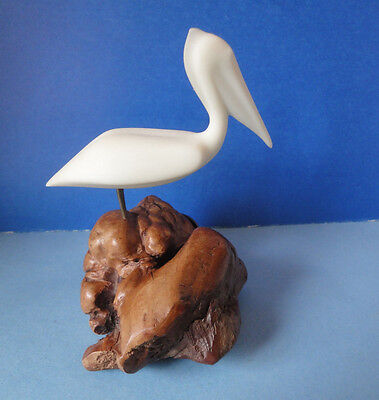 Pelican, White Sculpture On Burled Wood Base Signed John Perry Art Figurine