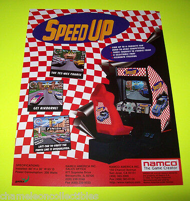 SPEED UP By NAMCO 1996 ORIGINAL NOS VIDEO ARCADE GAME SALES FLYER BROCHURE