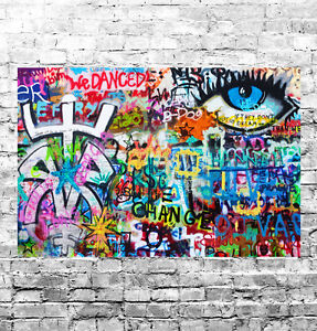 STUNNING ABSTRACT GRAFFITI POP ART #12 QUALITY CANVAS PICTURE WALL ART A1