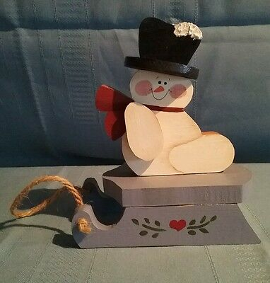 Wooden Snowman Decorations (Wooden Snowman on Sled Christmas)