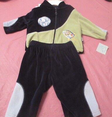 BOY'S 3-PIECE VELOUR PANTS SET WITH SHIRT & ZIPPERED JACKET (3 MONTHS)