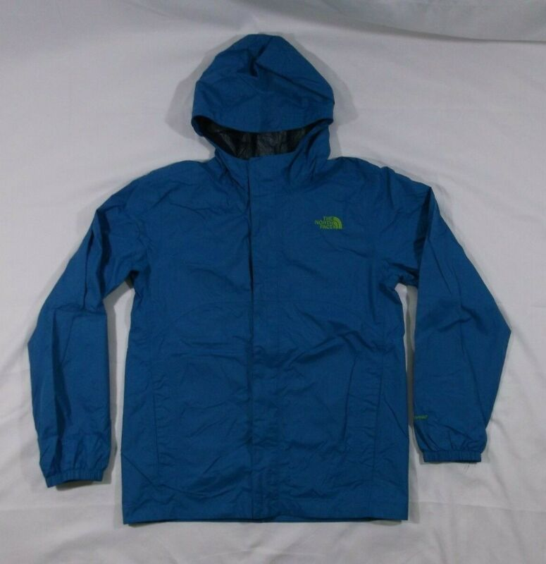 Boys North Face Zip-Up Hooded Rain Jacket Blue size 14/16