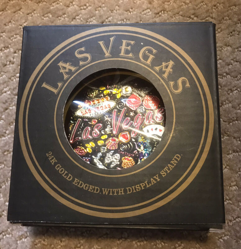 LAS VEGAS 24K Gold Edged Souvenir Mini Plate With Display Stand - NEW