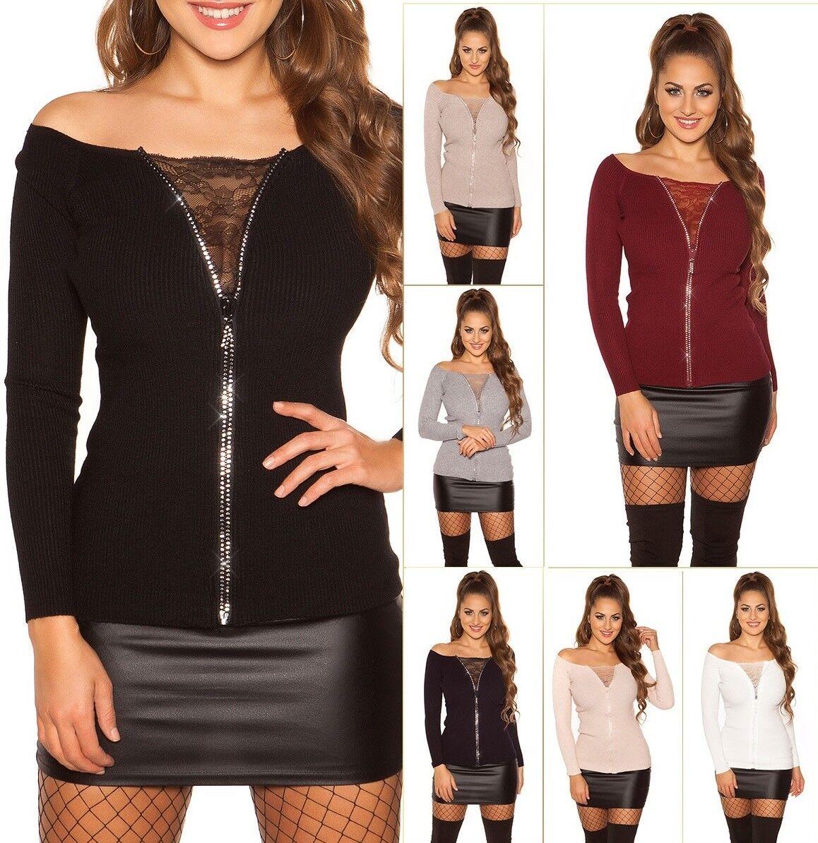 Enzoria Damen 2in1 Look Pullover Strickpullover mit Strass Zip