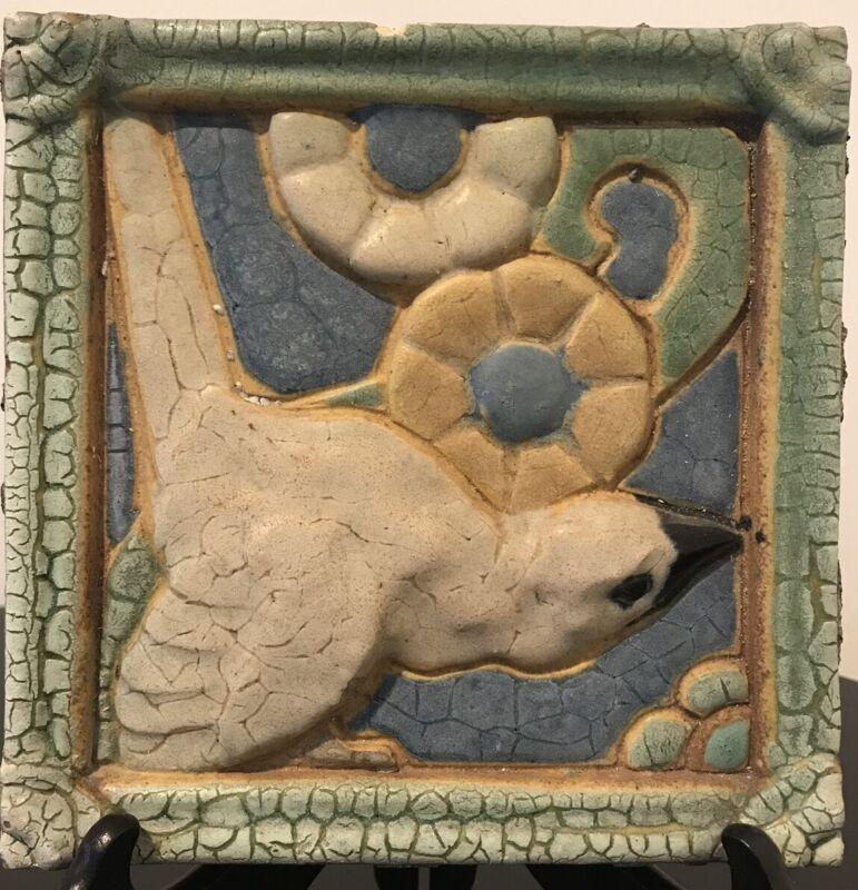 "Grueby Pottery Rare White Parrot Tile Arts & Crafts Boston 6"""