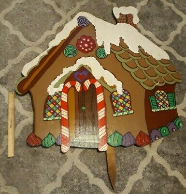 Large Tole Handmade Wooden Christmas Gingerbread House Yard Decoration 33.5