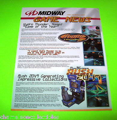 MIDWAY GAME NEWS HYDRO THUNDER SAN FRANCISCO RUSH 2049 VIDEO ARCADE GAME FLYER