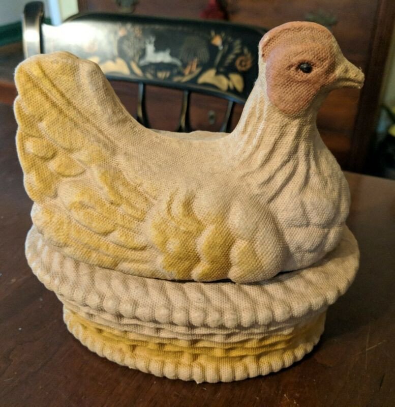 Chicken on Nest Easter Candy Container Drake Process 1924 Fiber N Burt Co