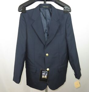 Boy's STANLEY BLACKER Wool Navy Blue 2-Gold Button Blazer Jacket 16 Reg NWT