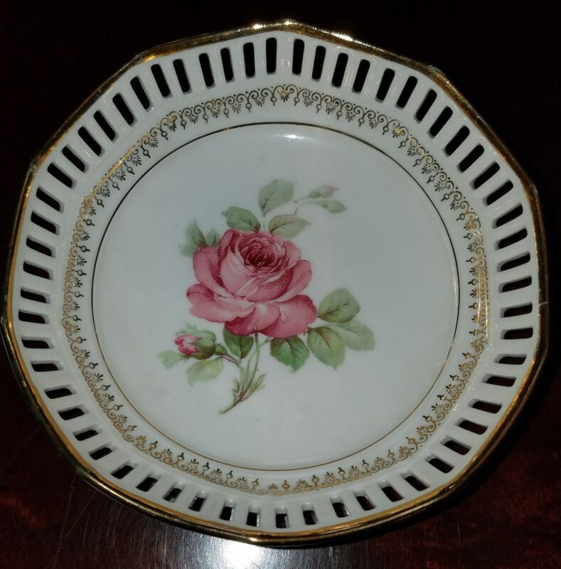 Pink Open Rose Reticulated Pierced Gold Trim Small Bowl Schumann Germany EUC