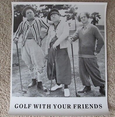 THE THREE STOOGES GOLF WITH YOUR FRIENDS MINT ROLLED POSTER LARRY CURLY MOE  ()