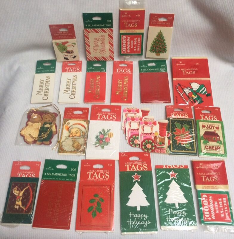 Vintage Hallmark Christmas Gift Tags Some NIP Over 75 Tags Unused
