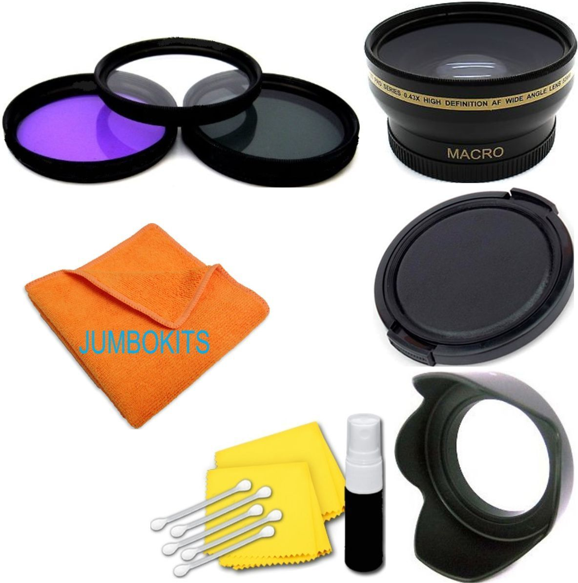 52mm Fisheye Macro Lens + Hood + Filter Kit+ Cap For Niko...