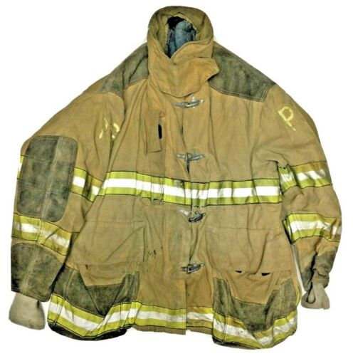 58x36 Globe Firefighter Brown Turnout Jacket Coat with Yellow Tape J922