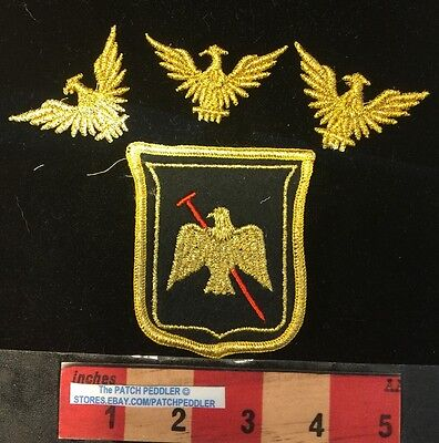 4 GOLDEN Eagle Patch Lot GOLD American Bald Eagle, Bird Emblem USA 1 Big +3 61TT