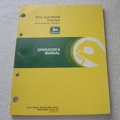 JOHN DEERE 2755 2855N TRACTOR OPERATOR MANUAL