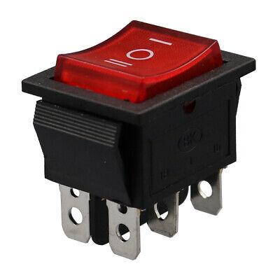 50pcs Red Light 3 Position 6 Pin On-off-on Rocker Switch 16a250v 20a125v Dpdt